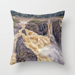 Powerful water going over the falls Throw Pillow