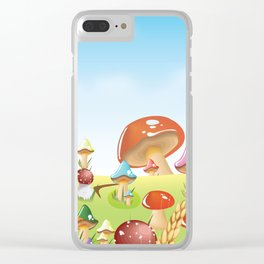Mushroom fields panorama Clear iPhone Case