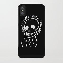 rainy day minimal skull hand lettering (dark) iPhone Case