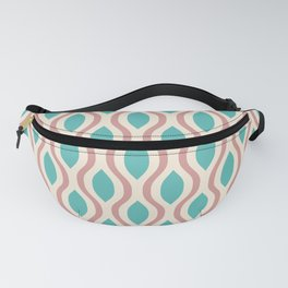 Retro Ogee Pattern 448 Dusty Rose and Turquoise Fanny Pack