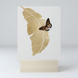 Butterfly & Palm Leaf, Gold Wall Art Mini Art Print