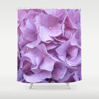 hydrangea Shower Curtains featuring Hydrangea by lillianhibiscus
