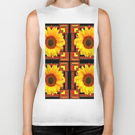 QUATRE WESTERN BLACK & RED ART DECO YELLOW SUNFLOWER Biker Tank