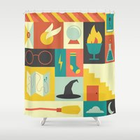 harry Shower Curtains featuring King's Cross - Harry Potter by Ariel Wilson