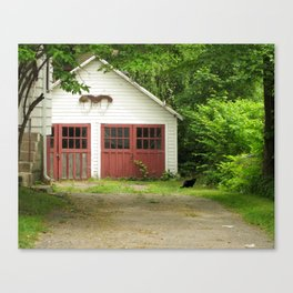 Cat and Garage Canvas Print