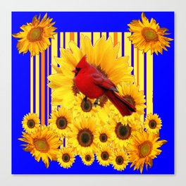 BLUE WESTERN YELLOW SUNFLOWERS RED CARDINAL Canvas Print
