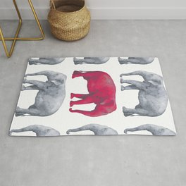 Elephants Red II Rug
