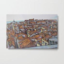 Illustration of Dubrovnik, Croatia Metal Print