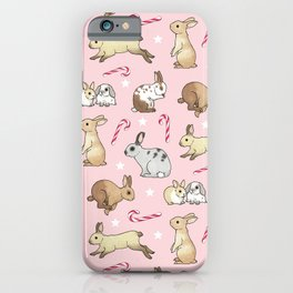 Christmas Rabbits and Candy Canes - pink iPhone Case