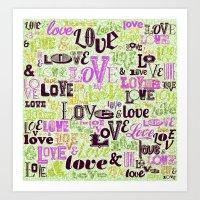 Vintage Love Words Art Print
