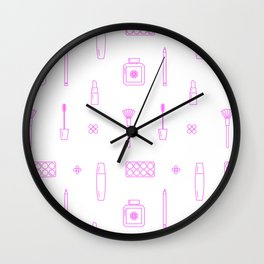 Pink Makeup Line Icon Pattern Wall Clock