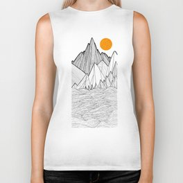 The waves and the mountains under the sun Biker Tank