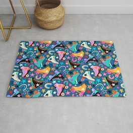 Retro Rainbow Roller Skates and Stars Rug