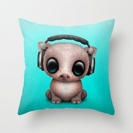 Cute Baby Pig Deejay Wearing Headphones Throw Pillow