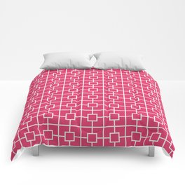 Cerise Pink Square Chain Pattern Comforters