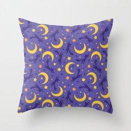 Crescent Moon Cats (Purple) Throw Pillow