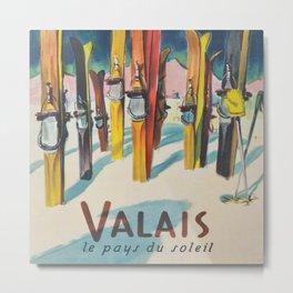 Valais Vintage Ski Travel Poster Metal Print