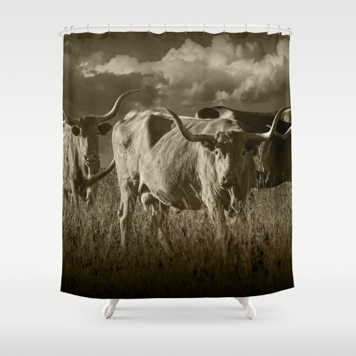 Sepia Tone Of Texas Longhorn Steers Under A Cloudy Sky Shower Curtain By Randynyhof