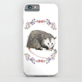 Opossum in Floral Wreath iPhone Case