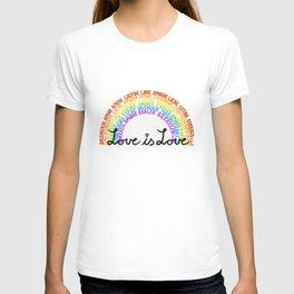 """LGBTQ+ Rainbow """"Love is Love"""" multi-language T-shirt"""