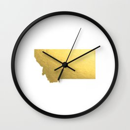 Montana State Printable Art Montana Art Printable Montana Map Printable Faux Gold Foil Printable Wal Wall Clock