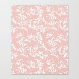Tropical leaves pink Canvas Print