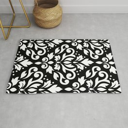 Scroll Damask Large Pattern White on Black Rug