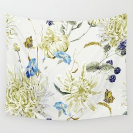 Antique White Flower Pattern with Blue Accents Wall Tapestry