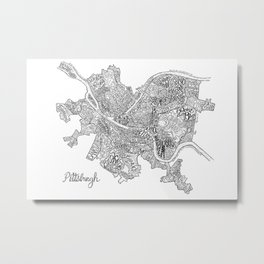 Pittsburgh Neighborhoods - black and white Metal Print