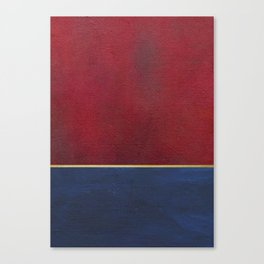Deep Blue, Red And Gold Abstract Painting Canvas Print