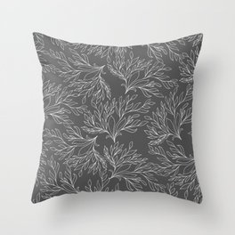 Modern hand drawn gray white leaves pattern Throw Pillow