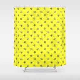 Navy Blue on Electric Yellow Snowflakes Shower Curtain