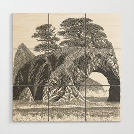 SEASIDE ARCH, BISHOP PINE, AND DRIFTWOOD VINTAGE PEN DRAWING Wood Wall Art
