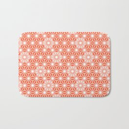 Japanese Asanoha or Star Pattern, Pastel Coral and White Bath Mat