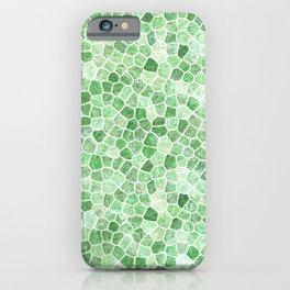 Pale Emerald and Pistachio Cobbled Patchwork iPhone Case
