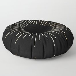 Sunburst Gold Copper Bronze on Black Floor Pillow