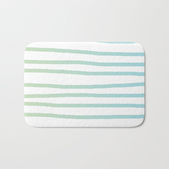 Simply Drawn Stripes in Turquoise Green Blue Gradient on White Bath Mat