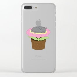Flower Bed Kitty Clear iPhone Case