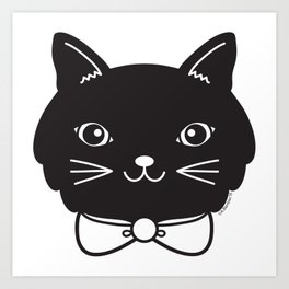 Dapper Black Kitty Cat Art Print