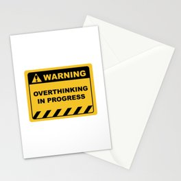 "Human Warning Label ""Warning Overthinking In Progress"" Sayings Sarcasm Humor Quotes Stationery Cards"