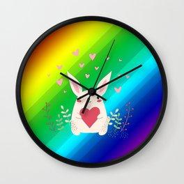 Rainbow Bunny Wall Clock