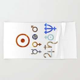 Planetary Symbols II Beach Towel