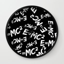 Special Relativity pattern black and white Wall Clock