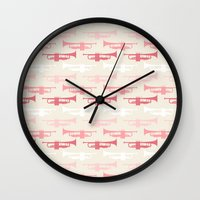 trumpet Wall Clocks featuring Trumpet by Background Labs