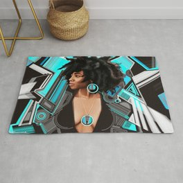 Beautiful black woman Blue brown and White Abstract portrait Rug