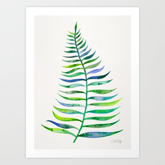 Palm Leaf – Green Palette Art Print