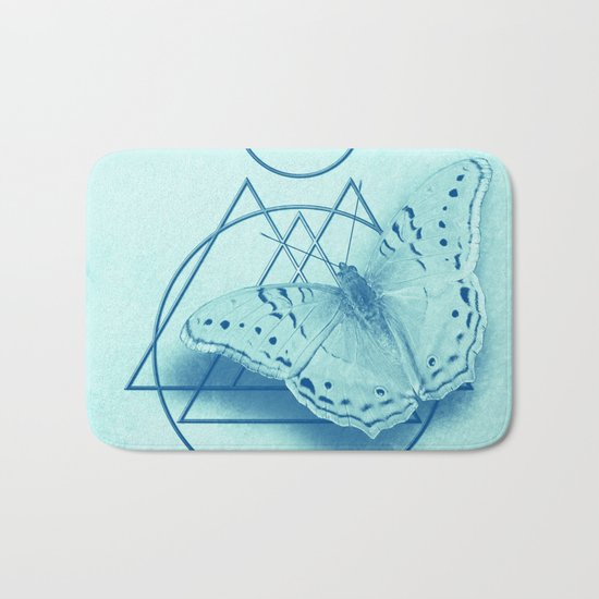 Butterfly in an abstract landscape Bath Mat