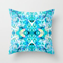 Turquoise staghorn repeat Throw Pillow