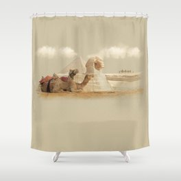 Egypt landscape with camels Shower Curtain
