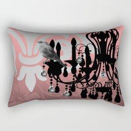 Vintage Chandelier & Bird Floral Damask Backdrop Rectangular Pillow